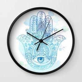 Hamsa Blue Wall Clock