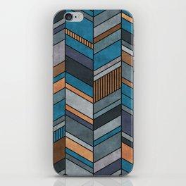 Colorful Concrete Chevron Pattern - Blue, Grey, Brown iPhone Skin
