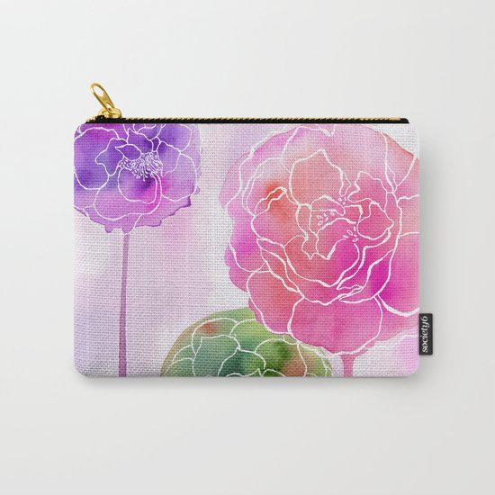 Succulent and Roses Carry-All Pouch