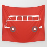 vw bus Wall Tapestries featuring VW Samba Bus - Flat by Art By Edo