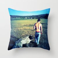 indiana Throw Pillows featuring Indiana by Peacockbutterfly  Art