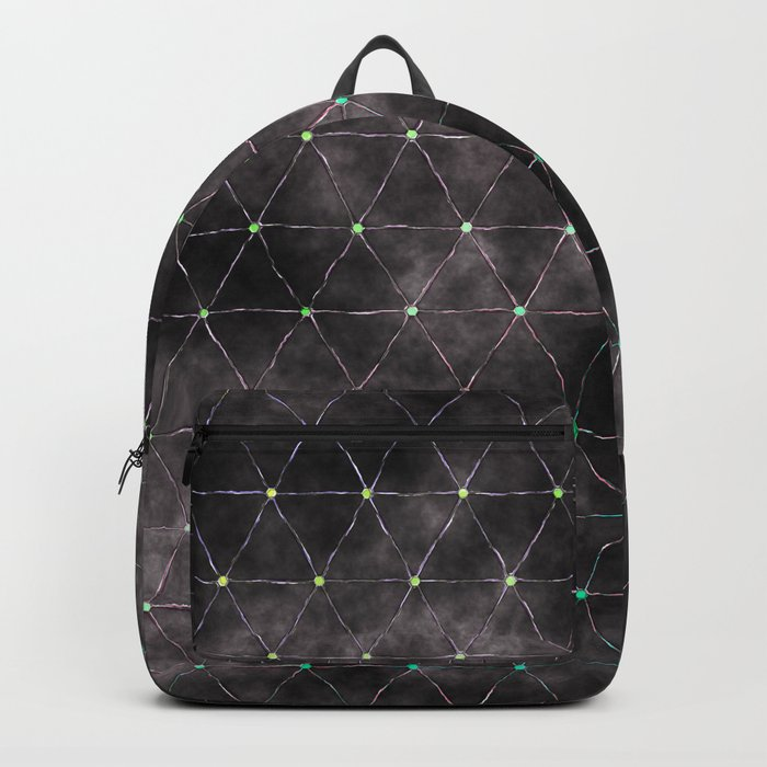 Galaxy - modern abstract dark grunge triangles pattern Backpack