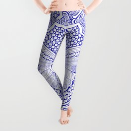 Butterfly Blue and White Porcelain Leggings