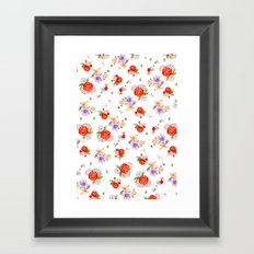 RED FLORAL Framed Art Print
