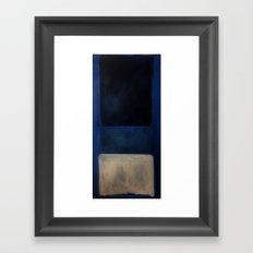 Mark Rothko Interpretation White And Greens In Blue Framed Art Print