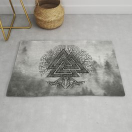 Valknut and Tree of Life Yggdrasil Rug