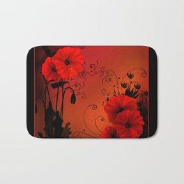 Poppy flowers, sunset Bath Mat
