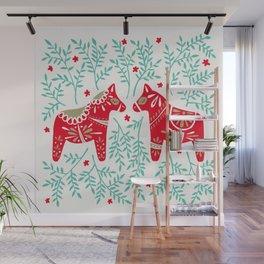 Swedish Dala Horses – Red & Mint Palette Wall Mural