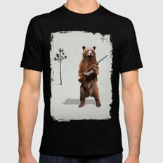 Bear with a shotgun Mens Fitted Tee Black LARGE
