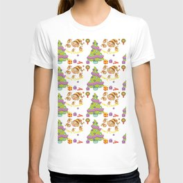 Hand painted green red Merry Christmas holiday typography pattern T-shirt