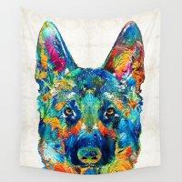 german shepherd Wall Tapestries featuring Colorful German Shepherd Dog Art By Sharon Cummings by Sharon Cummings