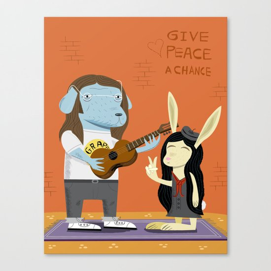 Lennon Dog and Yoko Bunny Canvas Print