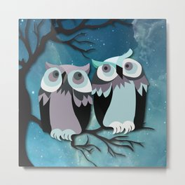 Owls In Moonlight Metal Print
