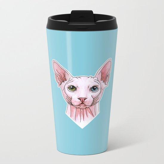 Sphynx cat portrait Metal Travel Mug