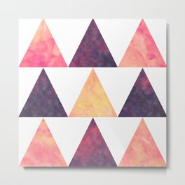 Orange & Purple Digital Watercolor Triangles Metal Print