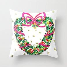 Xmas Heart Wreath Throw Pillow