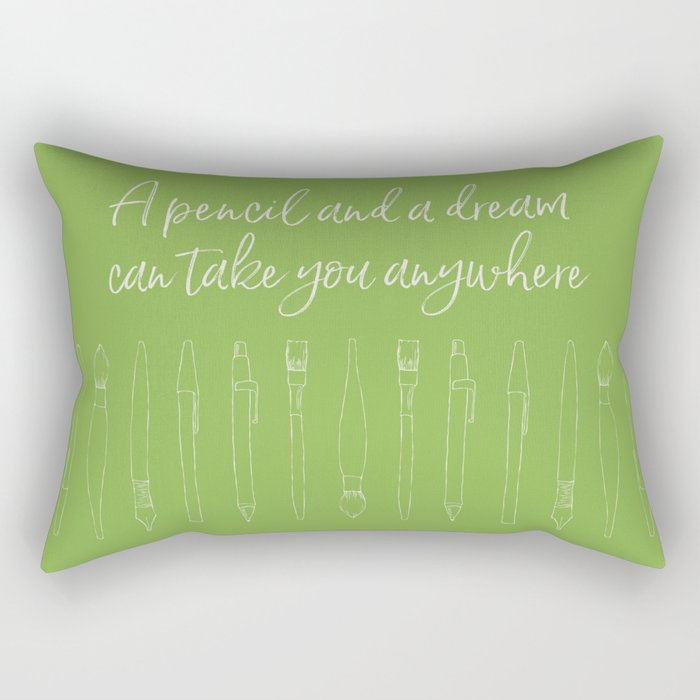 A pencil and a dream... greenery! Rectangular Pillow