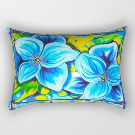 Blue Poppies 3 with Border Rectangular Pillow