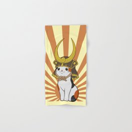Japanese Bobtail Cat Wears Samurai Hat Hand & Bath Towel