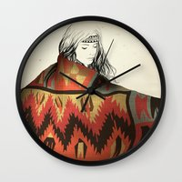 navajo Wall Clocks featuring Navajo by Karen Hofstetter