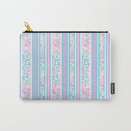 Lipstick Pink Roses and Butterflies - Stripes Carry-All Pouch