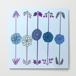 Garden Flowers Illustration - in Blues Metal Print