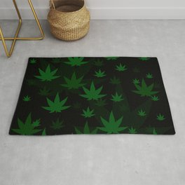 Patron with cannabis present shapes on a black background. Rug