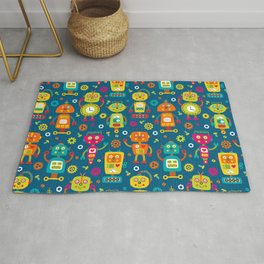 Blue Green Retro Robot Kids Pattern Rug