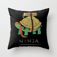 ninja turtle Throw Pillows featuring ninja - orange by Louis Roskosch