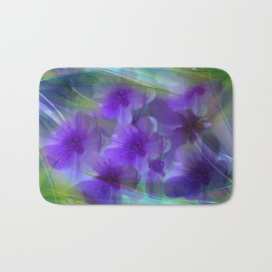 Violet Flower Garden Abstract Bath Mat
