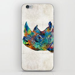 Rhino Rhinoceros Art - Looking Up - By Sharon Cummings iPhone Skin