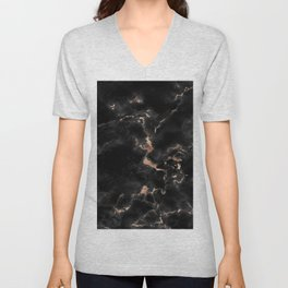 Chic abstract rose gold black elegant marble Unisex V-Neck