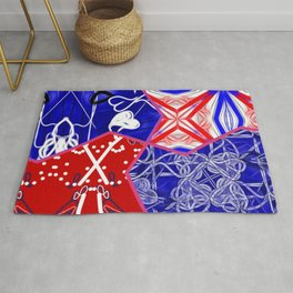 Tile #5 Red-White-Blue Collage Rug
