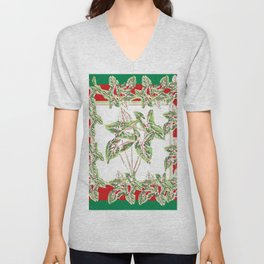 Green & Red Abstracted Foliage Art Unisex V-Neck