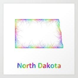 Rainbow North Dakota map Art Print