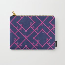 Bamboo Chinoiserie Lattice in Navy + Pink Carry-All Pouch