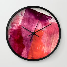 Blushing: a vibrant, minimal abstract in purple, pink, and red Wall Clock
