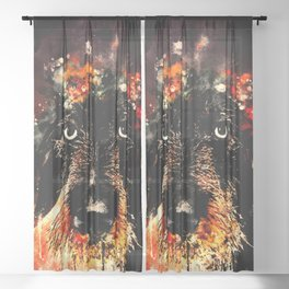 wire haired dachshund dog ws Sheer Curtain