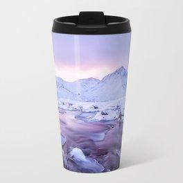 Freezing Mountain Lake Landscape Travel Mug