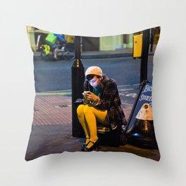 Lady in Yellow - Brick Lane, London Throw Pillow