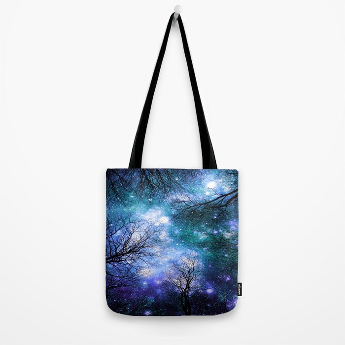 Black Trees Teal Violet Space Tote Bag