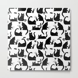 Bad Cats Knocking Stuff Over Metal Print