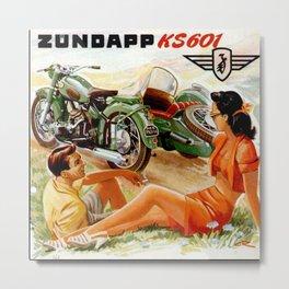Vintage Zündapp Motorcycle Advertisement Metal Print