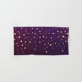 Violet Night Gold Stars Hand & Bath Towel