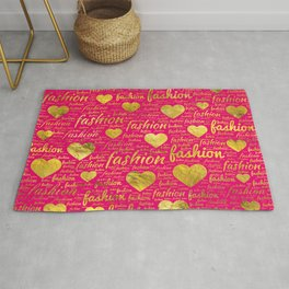 Fashion Word Art witth Gold hearts on Bright Pink, Rug