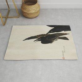 Two Crows - Shibata Zeshin (1807-1891) - Japanese scroll painting Rug