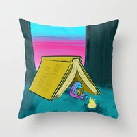 reading Throw Pillows featuring Reading by David Kantrowitz