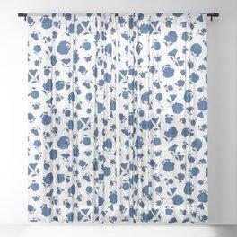 Medium Indigo Shadow Bloom Sheer Curtain