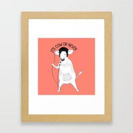 Cow singing Elvis Presley   Animal Karaoke   Illustration   Red Framed Art Print