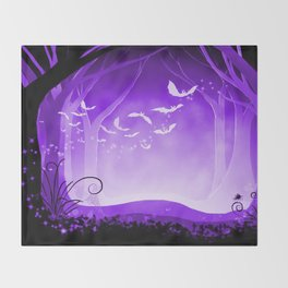Dark Forest at Dawn in Amethyst Throw Blanket